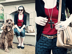 Paulina P. - Gucci Vintage Shoulder Bag, A. J. Morgan Cat Eye Sun Glasses, Jeffery Campbell Black Flats, San Francisco Street Vender Leopard Ring, Gap Black Sweater, American Apparel Red Tank, Bdg Polka Dot Jeans, Forever 21 Cross Necklace, Cow Fur Leopard Print Belt, Rome, Italy Street Vendor Turquoise Sun Ring, Urban Outfiter Zipper Floral Headband - The Posed Portrait