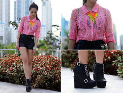 Laureen Uy - H&M Top, Extreme Finds Neon Necklaces, Iaah Shorts, Michael Antonio Booties - Leather, Neons and Studs (BMS)
