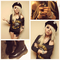 Lallie Tand - Party City Cap, Forever 21 Guns N' Roses Top, Dr. Martens Boots - You cant put ur arms around a memory
