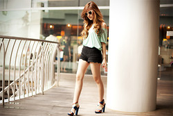 Silvia Siantar - Zara Blouse, H&M Crochet Shorts, Balenciaga Sandals, H&M Shades - Mint green and crochet shorts