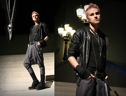 Judah H. - T.U.K Standard Black Creepers, Ignis Et Cinis Low Cut Harem Pants, Fizzen Leather Jacket, Ignis Et Cinis Black High Top Spats, H&M Bird Skull Necklace, Directions Peach Hair Color - Judah for Cabaret Bizarre