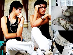 Ivana Villanueva - Snake Silver Necklace, Converse Studded Heels, Acid Washed Pants, Vision Plus Orange And Black Eyeglass, Claires Black Top - Random stuff with my hiphop pants!