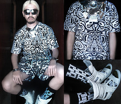 Andre Judd - Totem Pole Print Tee, Crossword Puzzle Socks, Sandal Sneaker Hybrid, Billiard Ball Shorts, Totem Pole Neckpiece, Custodio Metal Plates With Sikes And Crystal Knob - TOTEM POLE