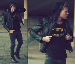 Andreas Wijk - Acne Studios Leather Jacket, Private Hood, Batman T Shirt, Weekday Jeans, Versace Shoes - Batman