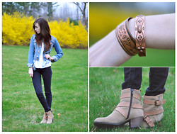 Caitlin Elise - H&M Denim Jacket, H&M Black Skinny Jeans, Haywards Trading Post Native American Copper Bracelets, Aldo Bubb Ankle Boot - I HEARD THAT YOU LIKE THE BAD GIRLS. HONEY, IS THAT TRUE?
