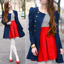 Ariadna Majewska - H&M Gold Earrings, H&M Gold Bracelet, Bb Fashion Double Breasted Blue Coat, Asos Red Skirt, H&M Black And White Striped Blouse, White Tights, Toria Blanic Red Pumps - Marine Chic