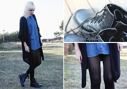 Therese Ahlström - Monki Cardigan, Cheap Monday Denim Shirt, Din Sko Boots - FAKE LEATHER BOOTS WILL BRING YOU DOWN