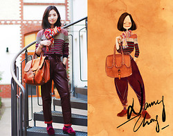 Nancy Zhang - Prada Tops, My Pet Square Pants, Asos Flats, Marc Cain Bag, Paul Smith Scarf - Wine Red.