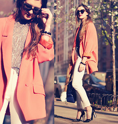 Laura Ellner - Karen Walker Sunglasses, Topshop Sheer Blouse, Chic Wish Oversized Blazer, Zara Pants, Zara Heels - Tangerine