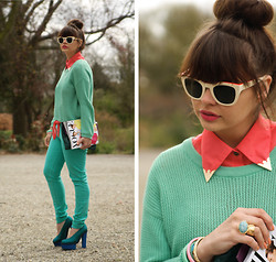 Iris . - Beginningboutique Blouse, Forever 21 Sweater, Acne Studios Shoes - Mint