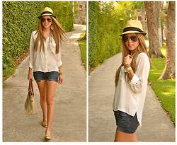 Raquel Cañas - H&M Silk Blouse, Bershka Shorts, Long Champ Bag, Tory Burch Reva Flats, Ray Ban Sunglasses, Michael Kors Watch - SILK BLOUSE + DENIM SHORTS + PANAMA HAT