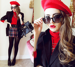 Bebe Zeva - E, Yes Style Red Beret, Yes Style Red Turtleneck, Yes Style Plaid Skirt, Giorgio Armani Oversize Blazer, Bamboo Patent Loafers - PARIS 1989