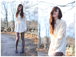 Caitlin Elise - Forever 21 Off White Shirt Dress, Vera Wang Sheer Tights, Forever 21 Navy Bow Flats, Lucky Brand Earrings, Forever 21 Necklace - THEY SAY THAT THE WORLD WAS BUILT FOR TWO