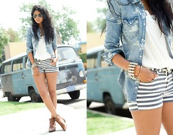 Sheryl L - H&M Denim Shirt, Roxy Sunset Drops Stripe Denim Shorts - SUNSET DROPS