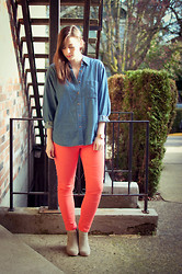 Kelly M. - Vintage Denim Shirt, Old Navy Coral Jeans, Dolce Vita Suede Boots - Peachy Keen