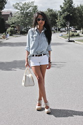 Christiane D - Jean Shirt, Diy Shorts, Aldo Wedges - Yesterday