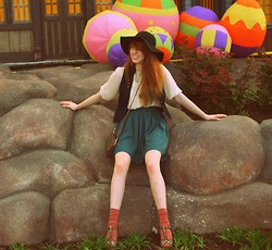 Erin Catherine - Rocket Dog T Strap Wedges, Dahlonega Country Store Floppy Hat, Thrift Leather Satchel Purse, H&M Military Vest, H&M Cream Lace Blouse, Target Scrunch Socks, American Apparel Pique Skirt - Marshmallow Peeps