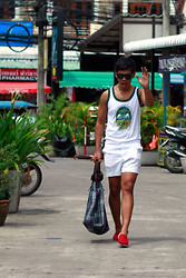 Alvin Miranda - Folded&Hung Wayfarer Like Shades, Phuket, Thailand Souvenir Sleeveless Thai Elephant Printed Undershirt, Philippines Vintage White Golf Shorts, Singapore Red Espadrilles, Kenzo Checkered Tote Bag With Leather Trim Handles - Done with Europe, let's now have fun for springtime.
