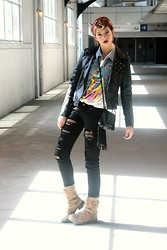 Gabrielle Huot - Forever 21 Black Jeans, Daddy's Closet Rolling Stones Tee, Roxy Army Boots, Diy Jean Vest, Vero Moda Leather Jacket, D Tox Cross Earrings, Volcom Fringed Hand Bag - The North American tour