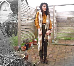 Daniela G. - H&M Plaid Scarf, American Apparel Olive Green Pleated Pants, Thrifted Suede Chunky Boots - Easter