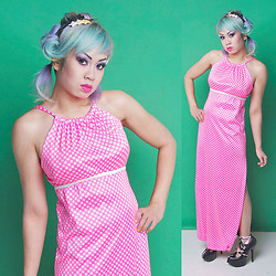 Chubby Bunny Michelle - Shrinkle Hot Pink Gingham Maxi Dress - Pink Gingham Massacre