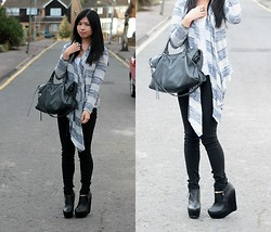 Isabel L - Balenciaga Bag, New Look Cardi, Zara Trousers, Nelly Booties - Monochrome