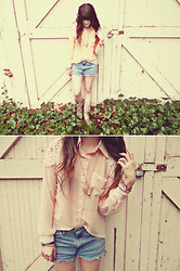 Ashlei Louise . - Romwe Pink Chiffon Blouse, Levi's® Hand Ripped Jeanshorts, Mad Lady Deer Necklace - Happy Easter!! // $80 Romwe + S&A giveaway's on blog