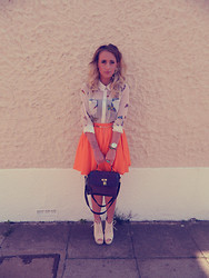 Jade Jones - Asos Botanical Blouse, River Island Orange Skirt, Boohoo Pearl Bead Collar, Matalan Purple Bag, Boohoo Cream Wedges, Asos Gold Watch - I can't and i won't, but i might