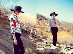 Paulina P. - Croft & Borrow Black Hat, Vintage Scarf, Marina Yachting Striped Sweater, Bdg Black High Waisted Pants, A. J. Morgan Cat Eye Sun Glasses, Bdg Nude Flats - The Desert Sand