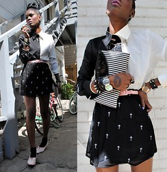 VintageVirgin Jessica - Romwe B&W Two Tone Blouse, Beginning Boutique Crosses Skirt, Vintage B&W Stripe Clutch, Vintage Skinny Pink Belt, Vintage Two Tone Pink White Oxfords, Diy Spiked Wrap Leather Bracelet - I'LL GIVE YOU A HINT