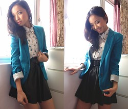 Uli C - Borrowed From A Friend Turquoise Blazer, Forever 21 Leather Skirt, Swallows Blouse - The birds they circle in the sky