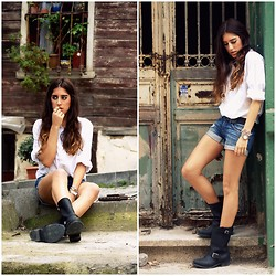 NILL N - The Frye Company Biker Boots, Carmar Denim Short, H&M White Shirt - IT WAS LIKE, JAMES DEAN-FOR SURE..