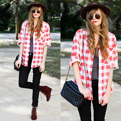 Steffy Degreff - Tea And Tulips Plaid Button Up, Sheinside Velvet Booties - Comfy cozy day ♥