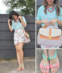 Kissa A. - Bangkok Slip Ons, Stylista,Inc. Satchel, Stylista,Inc. Top, Stylista,Inc. Rings, Tinitch Accessories Necklace, Bangkok Floral Skirt - PASTELS AND FLORALS