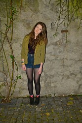 Anna Routledge - Zara Jacket, American Apparel Shorts, Deep Velvet Top - Last night in switzerland
