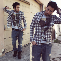 Reinaldo Irizarry - Luv Aj Ring, Asha Patel Designs Bracelet, Zara T Shirt, William Rast Plaid Shirt, Hollister Jeans, Kenneth Cole Boots, H&M Belt, Brad Walsh Bullet Necklace - BULLET TO MY HEART