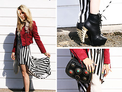 Penelope Sarah - Influence Stripe Dress, Ebay Spine Heels, Morocco Bag, Topman Peace Sign Necklace - Beetlejuice Blonde