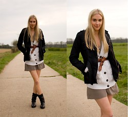 Anna Connelly - Barbour Jacket, Zara Cardigan, Forever 21 Dress, Asos Belt, Zara Boots - Studded Boots...