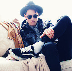 Nigel Lew - Felt Derby, Clubman Subglasses, Vans Canvas And Suede, Zara Leather Jacket - A Dark Spring