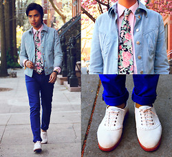 Denny Balmaceda - Bass Shoes., Versace Jacket, H&M Electric Blue Skinnies - Spring.