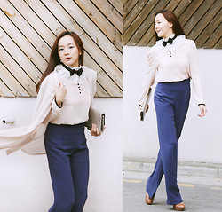 Becky Baek - Ribbon Frill Blouse, Navy Wide Pants, Beige Chiffon Jacket, Brown Pumps - Ribbon frill