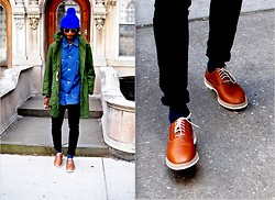 Kadeem Johnson - Wrangler Vintage, Vintage Jacket, Dr. Martens Shoes - Denim on Green