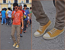 Chris Reyes - Penshoppe Tee, United Colors Of Benetton Pants, American Eagle Shoes - S.O.S (Standout Orange for Summer)