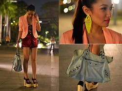 Laureen Uy - Extreme Finds Earrings, H&M Blazer, Topshop Corset, Vantan Shorts, Balenciaga Bag, Jeffrey Campbell Wedges - Midnight Pastels (BMS)