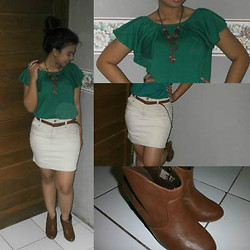 Tania Bonita - Sweet Green Top, Brown Belt, Brown Boots, White Skirt - Be happy