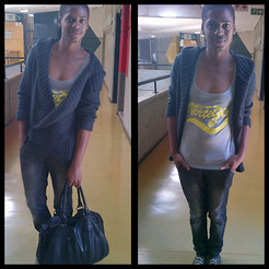 Bongani Tau - Trigger Cable Knitted Cardigan, Vertigo Tank Top, Meltz Jeans, Markham Bag - Is it really cold?