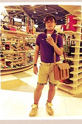 Carlosronn Toribio - Lacoste Polo Shirt, From Greece Braided Belt, Topman Mustard Shorts, Cole Vintage Leather Satchel, Converse Folded Extra High Chucks - Sweet stylish summer