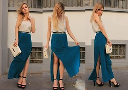 IVANA J. - Primark Belt, Zara Bag, H&M Top - TWO SLITS SKIRT