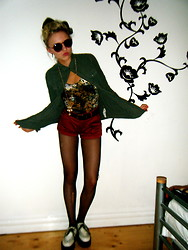 Grainne Binns - Pull & Bear Shirt, Urban Outfitters Leotard, Creepers, Forerver 21 Red Brick Shorts - It's Sort of Summer?