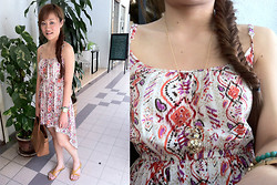 Ashley Liew - Cotton On Mullet Dress, Brown Bag, Bangkok, Thailand Brown Sandals, Taipei, Taiwan Golden Ball Chain - Casual brunch